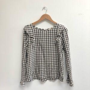 Loft Plaid Long Sleeve Ruffled Cotton Top Size S